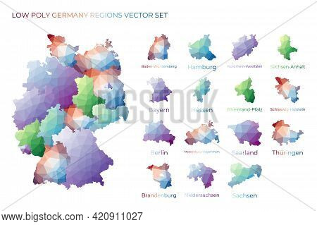 German Low Poly Regions. Polygonal Map Of Germany With Regions. Geometric Maps For Your Design. Appe