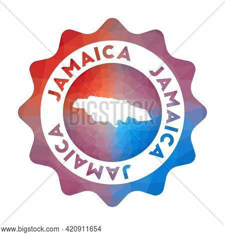 Jamaica Low Poly Logo. Colorful Gradient Travel Logo Of The Country In Geometric Style. Multicolored