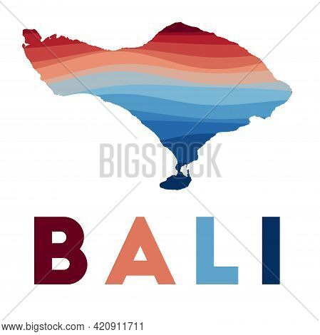 Bali Map. Map Of The Island With Beautiful Geometric Waves In Red Blue Colors. Vivid Bali Shape. Vec
