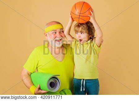 Healthy Lifestyle. Grandfather And Grandson Sporting. Basketball. Sport For Kids. Happy Family.