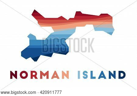 Norman Island Map. Map Of The Island With Beautiful Geometric Waves In Red Blue Colors. Vivid Norman