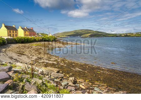 Colourful Houses In Portmagee Village, Located At The Edge Of Atlantic Ocean, Ring Of Kerry, Wild At