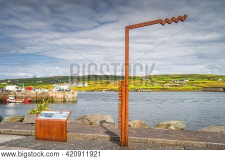 Portmagee, Ireland, August 2019 Portmagee Harbour Sign And Information Board. Boat Trip To Skellig M
