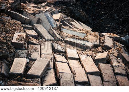 Landslide Demolished Pavement. Broken Paved Footpath On Landslide