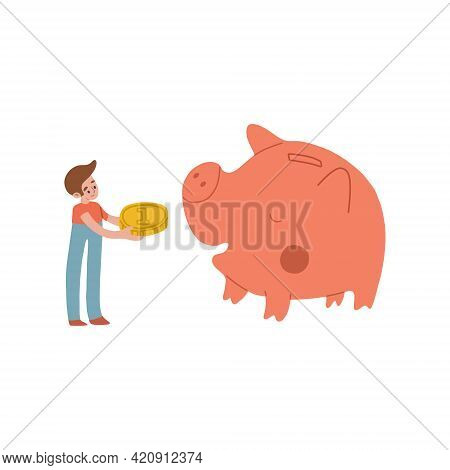 The Boy Feed The Piggy Bank With Money. Happy Pink Pig Piggy Eats A Gold Coin. Childrens Finance, Ch