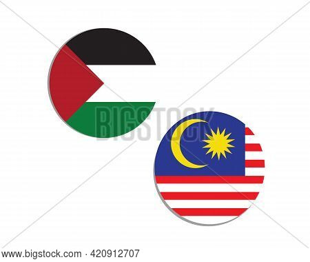 A Vector Of Palestine And Malaysia Flag In Circle As Symbol Of Diplomatic Relationship. Malaysia Sup
