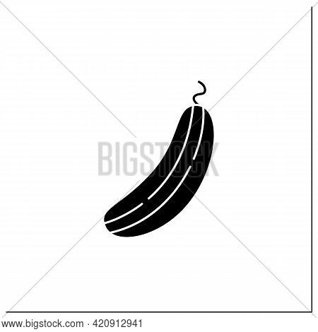 Cucumber Glyph Icon. Edible Vegetable.dietary Food. Vegetarian, Healthy Nutrition. Health Benefits.a