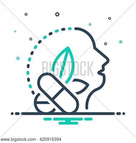 Mix Icon For Antiepileptic Drug Medicine Herb Remedy Healing