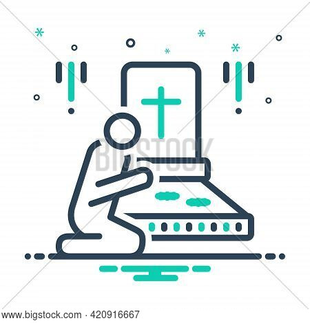 Mix Icon For Bereaved Graveyard Funeral Cemetery Churchyard Necropolis Mausoleum