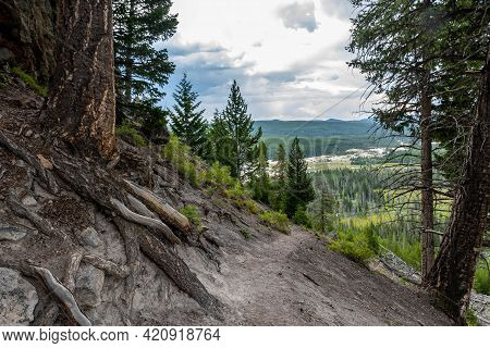 An Overlooking Landscape View Of Yellowstone National Park, Wyoming