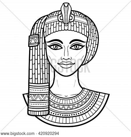 Animation Portrait Of Beautiful Egyptian Woman In Ancient Hairstyle. Goddess, Princess, Queen. Vecto