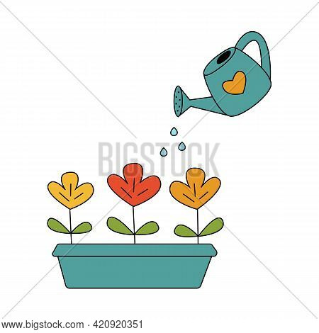 Watering Flowers Vector Cartoon Illustration. Growing Plants. Irrigation. Isolated On White Backgrou