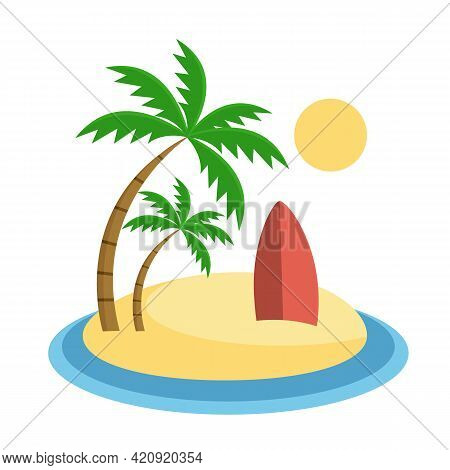 Tropical Island With Surfboard In Sand Flat Vector Illustration. Summer Vacation Icon. Beach Landsca