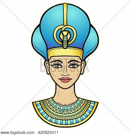 Animation Color Portrait Of Beautiful Egyptian Woman In The Military Crown. Queen Or Princess Goddes