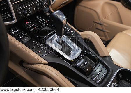 Novosibirsk, Russia - May 16, 2021: Porsche Cayenne, Close-up View Of The Automatic Gearbox Lever. I