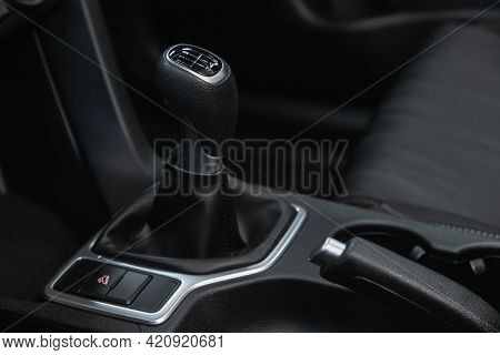 Novosibirsk, Russia - May 16, 2021: Kia Sportage, Close-up View Of The Automatic Gearbox Lever. Inte