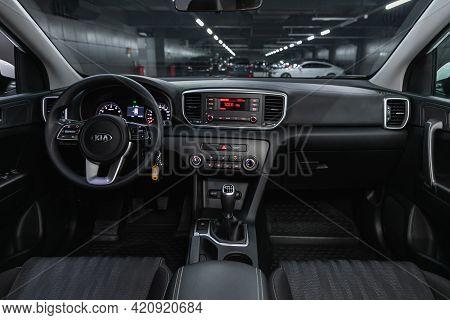 Novosibirsk, Russia - May 16, 2021: Kia Sportage, Steering Wheel, Shift Lever, Multimedia  Systeme,
