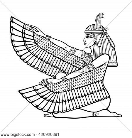 Animation Linear Portrait: Sitting Goddess Of Justice Maat. Profile View. Vector Illustration Isolat