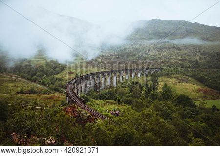 Glenfinnan Viaduct railway in Inverness-shire, Scotland