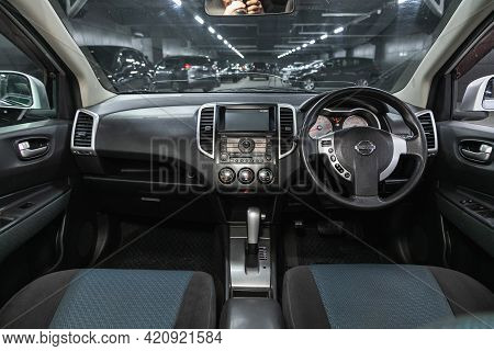 Novosibirsk, Russia - May 16, 2021: Nissan Wingroad,  Steering Wheel, Shift Lever, Multimedia  Syste