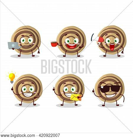 Cookies Spiral Cartoon Character With Various Types Of Business Emoticons