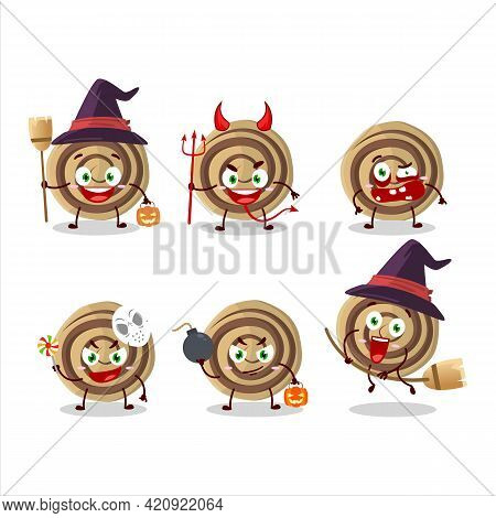 Halloween Expression Emoticons With Cartoon Character Of Cookies Spiral