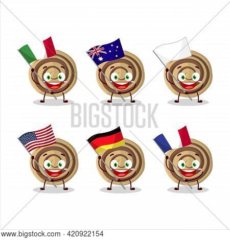Cookies Spiral Cartoon Character Bring The Flags Of Various Countries