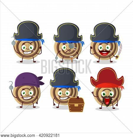 Cartoon Character Of Cookies Spiral With Various Pirates Emoticons