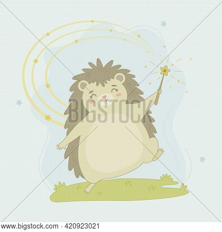 Cute Hedgehog With Magic Wand Walks On Grass. Hand Drawn Baby Poster With Cartoon Character Animal.