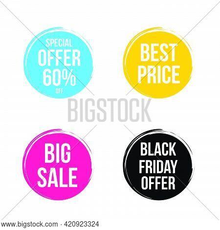 Special Offer, Best Price, Black Friday , Big Sale Round Brushstroke Tag Design Vector