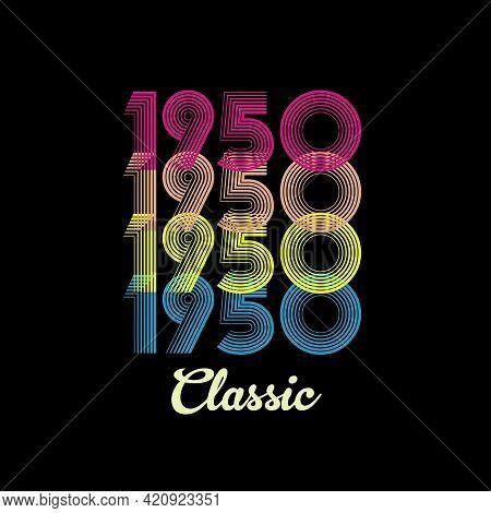 1950 Vector Vintage Retro Tshirt Design Black Background