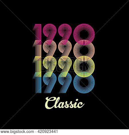 1990 Vector Vintage Retro Tshirt Design Black Background