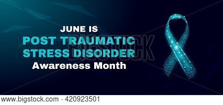 Post-traumatic Stress Disorder Awareness Month Concept. Ptsd Banner Template With Glowing Low Poly.