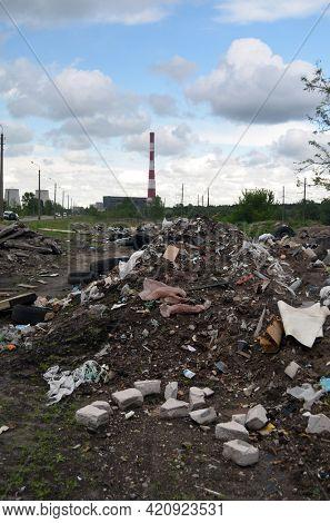 Spring landscape.Ecology of Ukraine. Nature near Ukrainian capital. Environmental contamination. Illegal junk dump.May 18,2021. Kiev , Ukraine