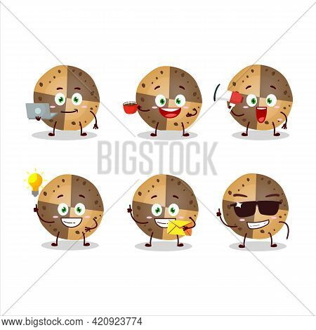 Sweety Cookies Cartoon Character With Various Types Of Business Emoticons