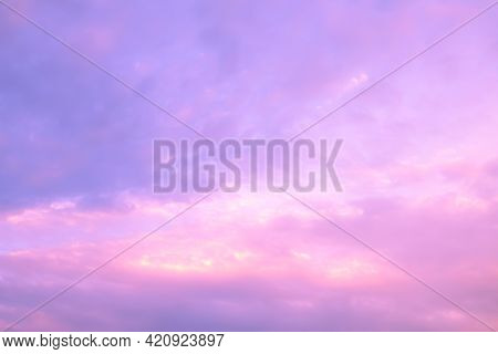 Cloud Sky Pastel Abstract Gradient Blurred. Soft Focust Canopy Purple, Orange, Red, Yellow. Wallpape
