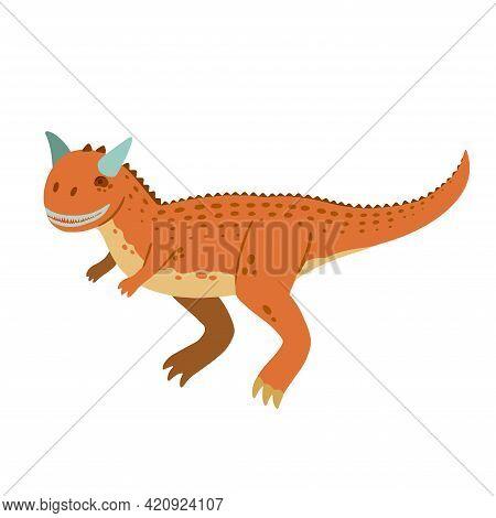 Cute Cartoon Doodle Carnotaurus, Isolated On White Background.