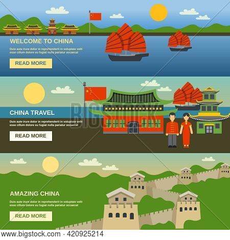 Chinese Culture Traditions And Famous Landmarks Information For Tourists 3 Flat Horizontal Interacti