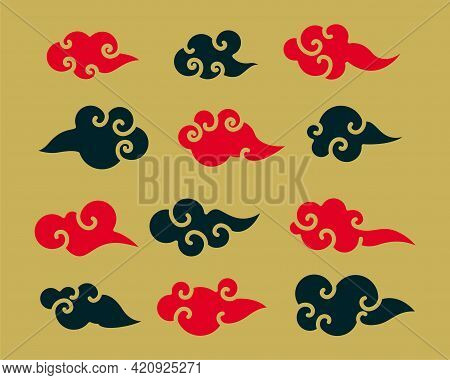 Decorative Red And Black Chinese Clouds Set