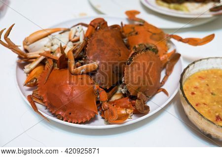 Heap Of Freshly Steamed Crabs On Dish, Ready To Eat