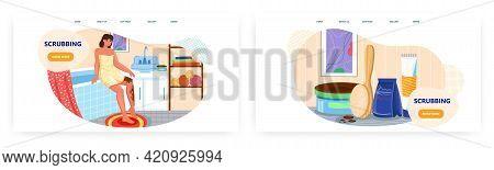 Scrubbing Landing Page Design, Website Banner Vector Templates. Coffee Body Scrub, Anti Cellulite Tr
