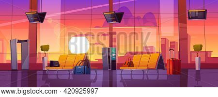 Waiting Room In Airport Terminal With Chairs, Security Scanner, Luggage And Schedule Display At Even