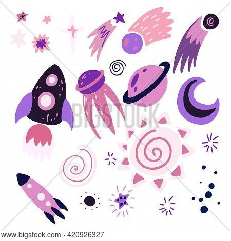 Set Of Childish Cosmos Element With Stars, Moon, Shuttle, Spacecraft And Meteor With Decoration. Vec