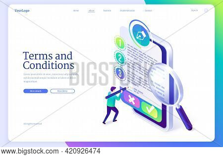 Terms And Conditions Banner. Business Documents For Law Compliance, Agreements And Contracts. Vector