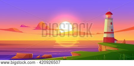 Lighthouse On Sea Shore At Sunset, Beacon Building At Scenery Dusk View, Nature Ocean Landscape With