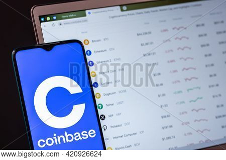 Kazan, Russia - May 17, 2021: Coinbase, Is An American Company That Operates A Cryptocurrency Exchan