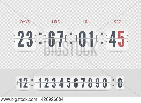 Retro Design White Score Board Clock. Vector Modern Ui Design Of Old Time Meter With Numbers. Scoreb