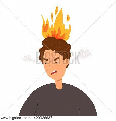 The Man Is Furious, Anger Is Stirring, His Head Is On Fire. Emotional Burnout, Feeling Stress At Wor