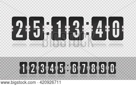 Scoreboard Number Font. Analog Airport Board Countdown Timer With Hour Or Minute. Vector Vintage Fli