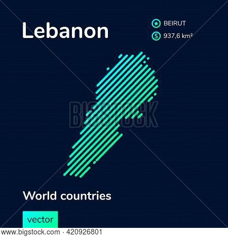Vector Creative Digital Neon Flat Line Art Abstract Simple Map Of Lebanon With Green, Mint, Turquois